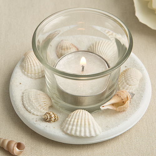 CLOSEOUT Sea Shell Themed Candle Votive With Natural Shell