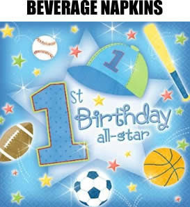 36 First Birthday Party Baseball Sports Beverage Napkins