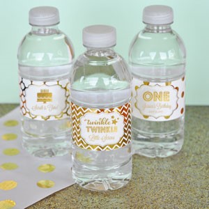 Personalized Metallic Foil Water Bottle Labels - Birthday