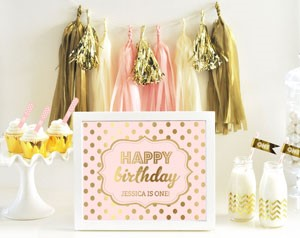 Personalized Typography Foil Print Birthday Sign