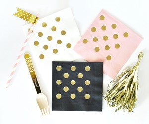 Metallic Gold DOTS Napkins (set of 25)