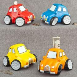 Multicolored Ceramic Car Banks SET OF 4 ASSORTED