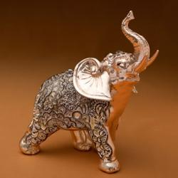 Champagne Gold Antique Standing Elephant - Clear Stones