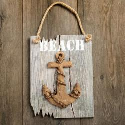 Anchor Plaque - Word BEACH In White - Driftwood Edge