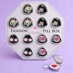 Fan-Shaped Pill Boxes In Colorful Floral Designs SET OF 12