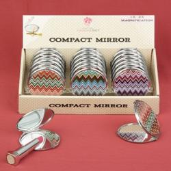 Chevron Design Mirror Compacts SET OF 18