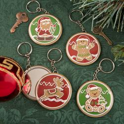 Gingerbread Holiday Pocket Mirror With Key Chain SET OF 12
