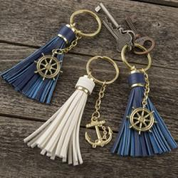 16 Tassel Key Chains With Anchor Or Ships Wheel