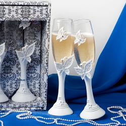 Butterfly Design Toasting Flutes
