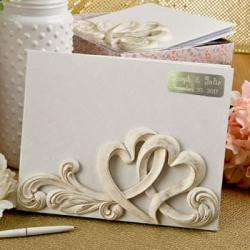 Engraved Vintage Style Double Heart Design Guest Book