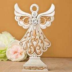 Antique Design Angel Statue In Ivory And Matte Gold