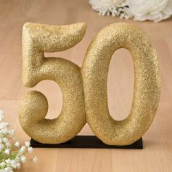 50th Themed Gold Glitter Center Piece - Cake Topper