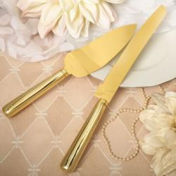 Classic Gold Stainless Steel Cake Knife Set