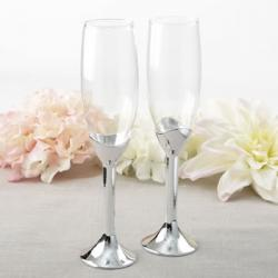 Classic Silver Stem Toasting Flute Set