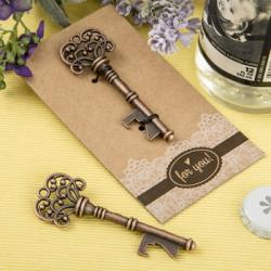 Copper Skeleton Key Bottle Opener Heavy Kraft Paper Backer