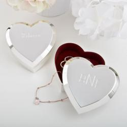 Engraved Large Silver Heart Box With Beveled Edge