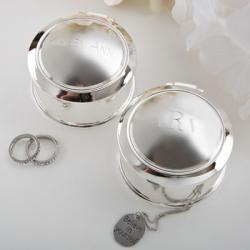 Engraved Glorious Silver Round Hinged Jewel Box Gift
