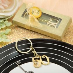 50th Design Gold Metal Key Chain