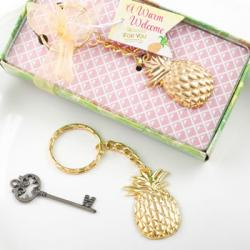 Pineapple Themed Gold Metal Key Chain