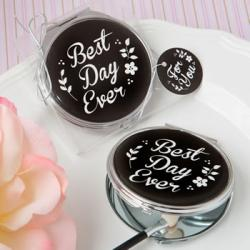 Best Day Ever Silver Metal Compact Mirror With Black Epoxy Top