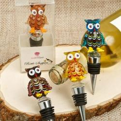CLOSEOUT Murano Glass Owl Bottle Stoppers Gift SET OF 12