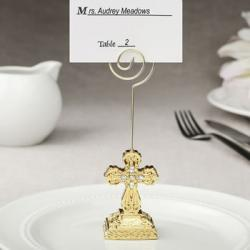 Gold Cross Themed Placecard Holder - Photo Holder