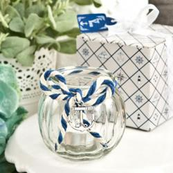 Anchor Nautical Themed Clear Glass Round Globe Candle Holder
