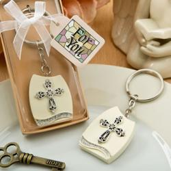 Beautiful Cross Themed Plaque Key Chain