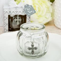 Cross Themed Clear Glass Round Globe Candle Holder