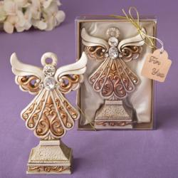 Antique Ivory Angel Statue With A Matte Gold Filigree Detailing