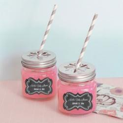 Chalkboard Baby Shower Personalized Mason Jar Drinking Glass with Flower Cut Lid