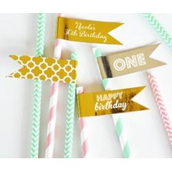 Personalized Metallic Foil Flag Labels - Birthday