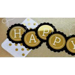Personalized Metallic Foil Scallop Banner - Birthday