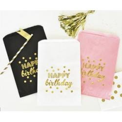 Happy Birthday Gold Foil Candy Buffet Bags (set of 12)