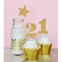 Gold Glitter Numbers Stickers (Set of 24)