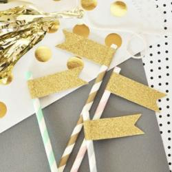 Glitter Flag Labels (set of 24) Straws Sold Separately