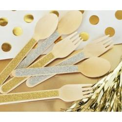 Glitter Spoons & Forks Made of Wood (set of 24)