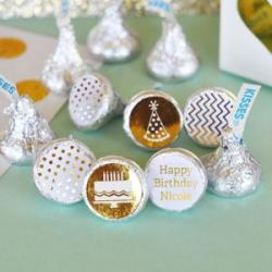 Personalized Metallic Foil Hershey's Kisses Labels Trio (Set of 108) - Birthday