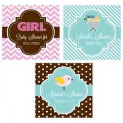 Personalized Baby Shower 2 inch Square Favor Labels and Tags