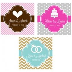 Personalized Theme Silhouette 2 inch Square Favor Labels and Tags