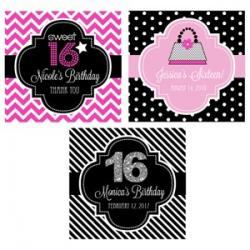 Personalized Sweet 16 (or 15) 2 inch Square Favor Labels and Tags