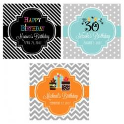 Personalized Birthday 2 inch Square Favor Labels and Tags